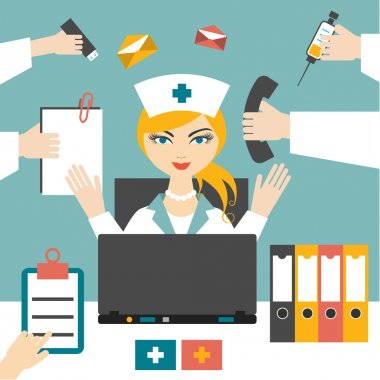 Multitasking woman nurse hard working. Busy medical woman. Flat design.
