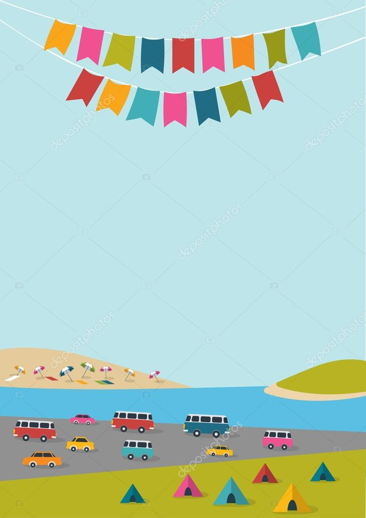 Summer festival, party poster with color flags and retro cars, vans, buses. Flat design.