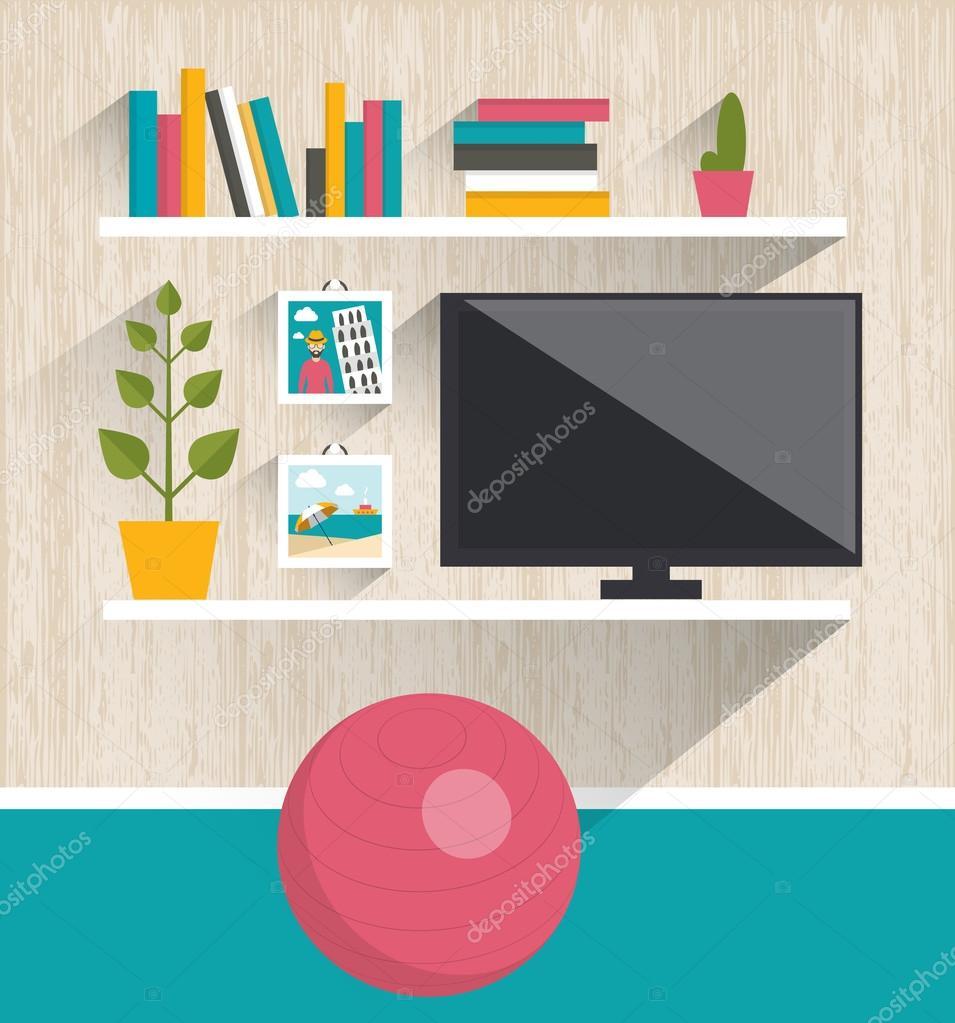 Living Room Interior Tv And Book Shelves Flat Design