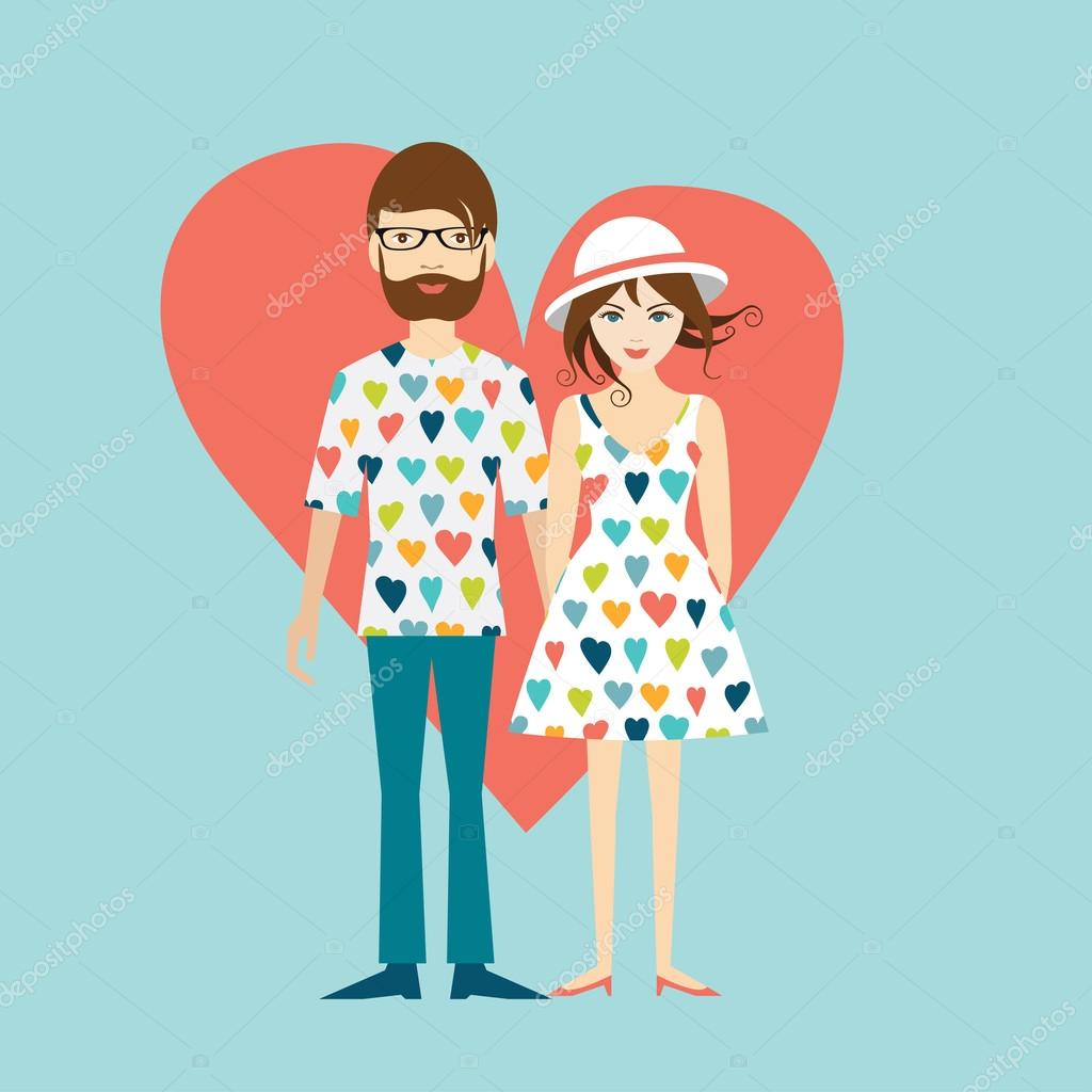 Young hipster wedding couple. Flat illustration.