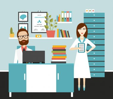 Doctor and nurse office workplace. Flat vector illustration. clip art vector