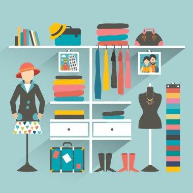 Wardrobe indoor. Flat design vector illustration.