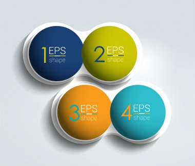 One, two, three, four business elements banner. 4 steps design, chart, infographic, step by step number option, layout.