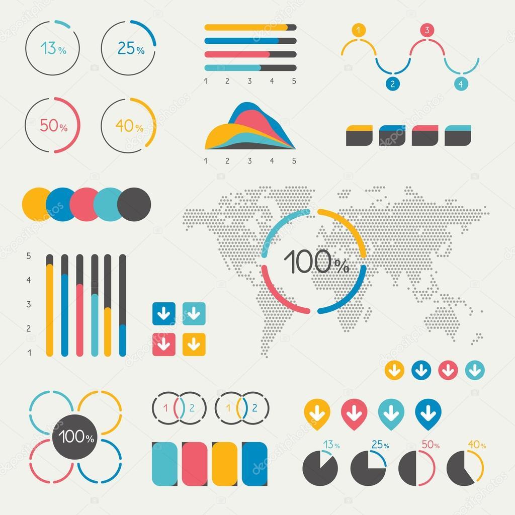 Set of infographics elements chart graph timeline speech set of infographics elements chart graph timeline speech bubble pie chart map colorful set template vector by kubko geenschuldenfo Images