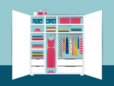 Open wardrobe. White closet with tidy clothes, shirts, sweaters, boxes and shoes. Home interior. Flat design vector illustration.