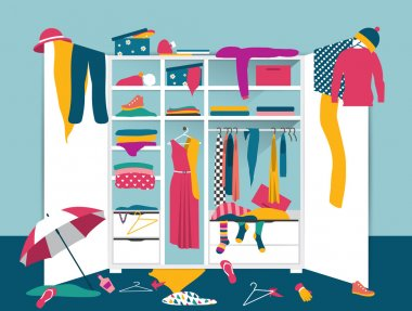 Open wardrobe. White closet with untidy clothes, shirts, sweaters, boxes and shoes. Home mess interior. Flat design vector illustration.