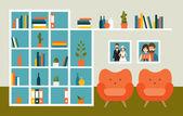 Police na stěnu obývacího pokoje s oranžovou křesla a knihy. Plochý design vektorové ilustrace
