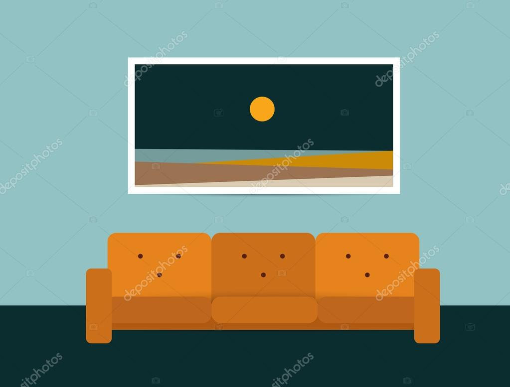 Retro Art Woonkamer : Woonkamer interieur retro stijl sofa en tapijt platte ontwerp
