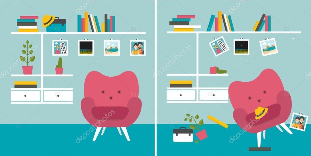 Ordentlich Und unordentlich Zimmer. Wohnzimmer mit Sessel und Buch ...