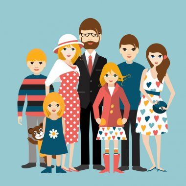 Big family with many children. Man and woman in love, relationship. Flat vector.