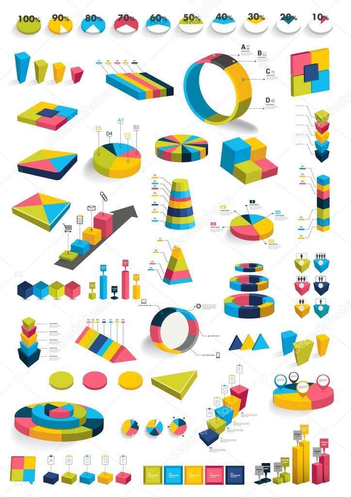 Sammlungen von Infografiken 3d Gestaltung Diagrammen. Verschiedene ...
