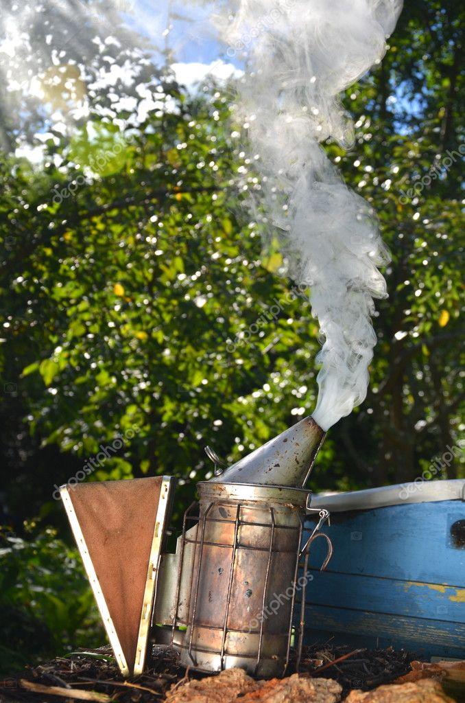 Bee smoker in apiary — Stock Photo © DarioSz #121302478