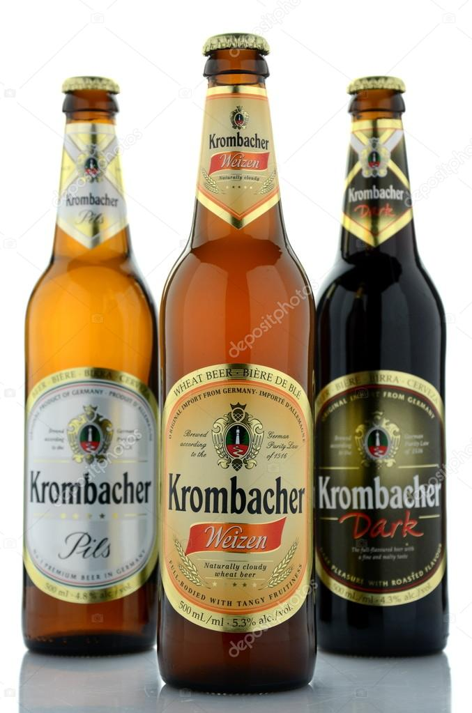 Variety of Krombacher beer isolated on white background