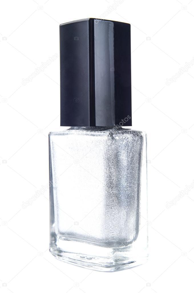 color plateado esmalte de uñas sobre fondo blanco — Foto de stock ...