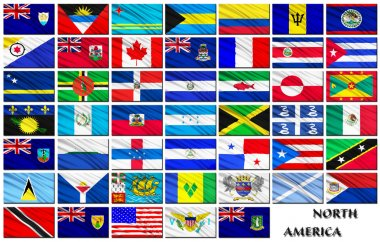 Flags of North American countries in alphabetical order