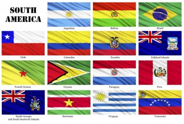 Set of flags of South American countries in alphabetical order