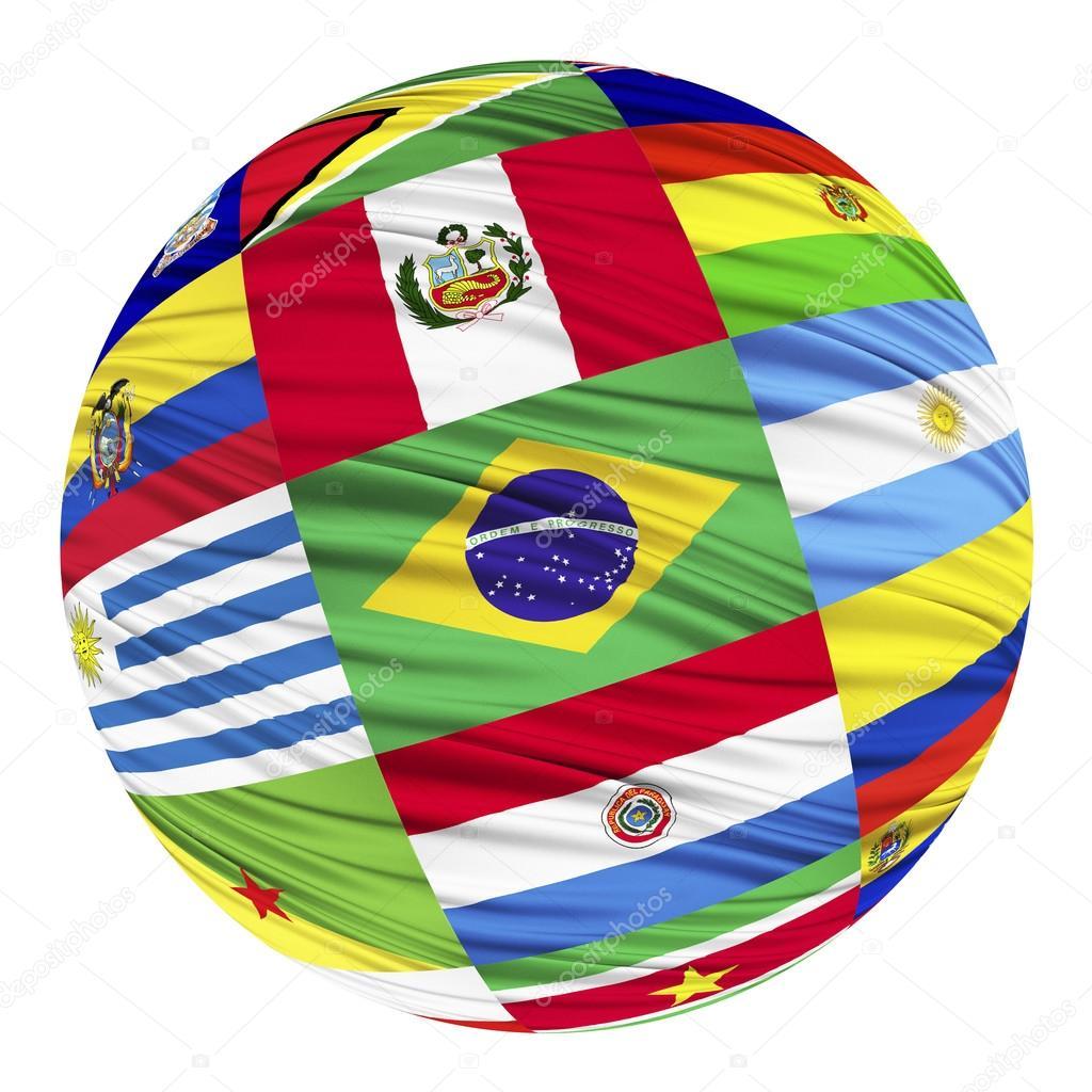 Juego de banderas de países de América del sur en orden alfabético ...