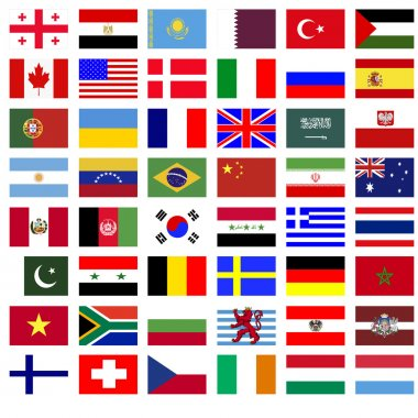 Collage of the flags of countries