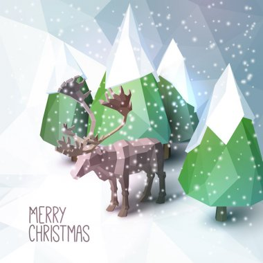 Christmas Greeting Card with Low Poly Illustration