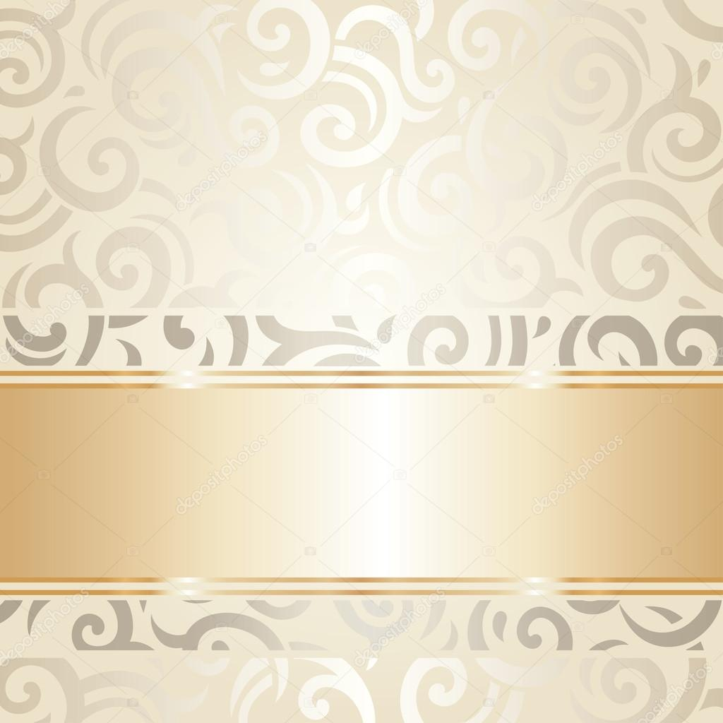 Wedding Vintage Wallpaper Design White Gold Vector Stock