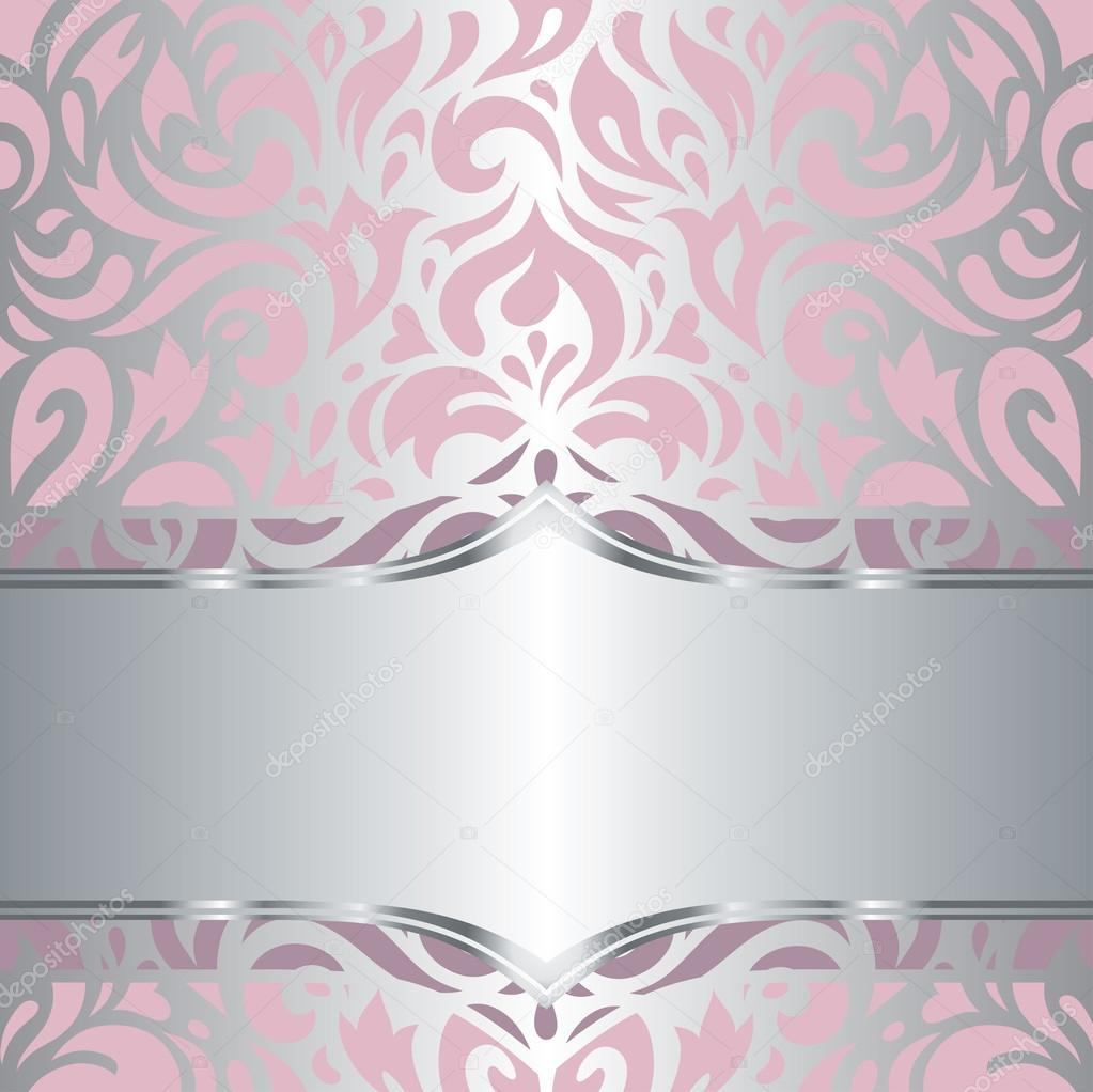 Design de papel de parede floral rosa e prata convite for Papel de pared plata