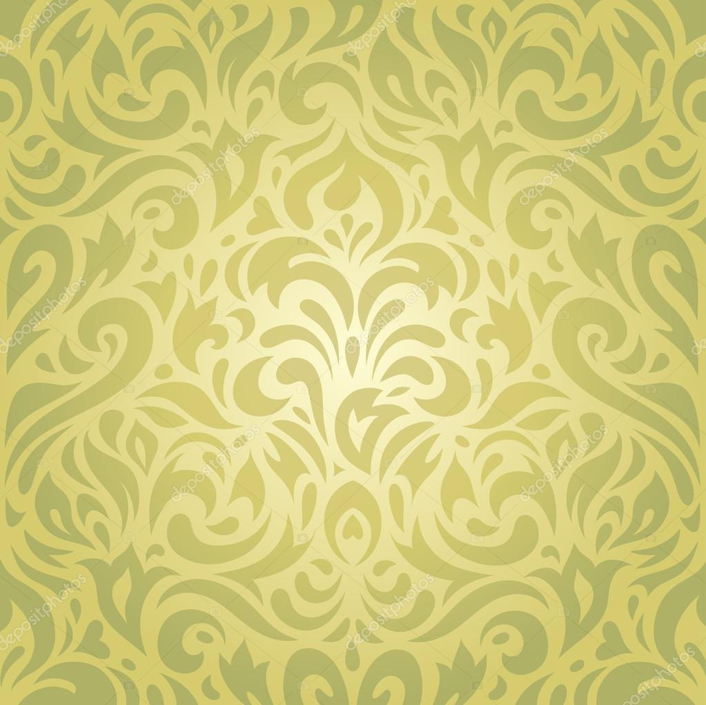 Floral Green Vintage Retro Wallpaper Vector Background