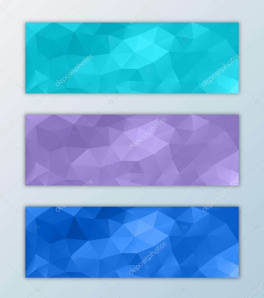 Website banner template set triangle polygon background design ...