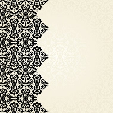 Ecru & black vintage wallpaper design
