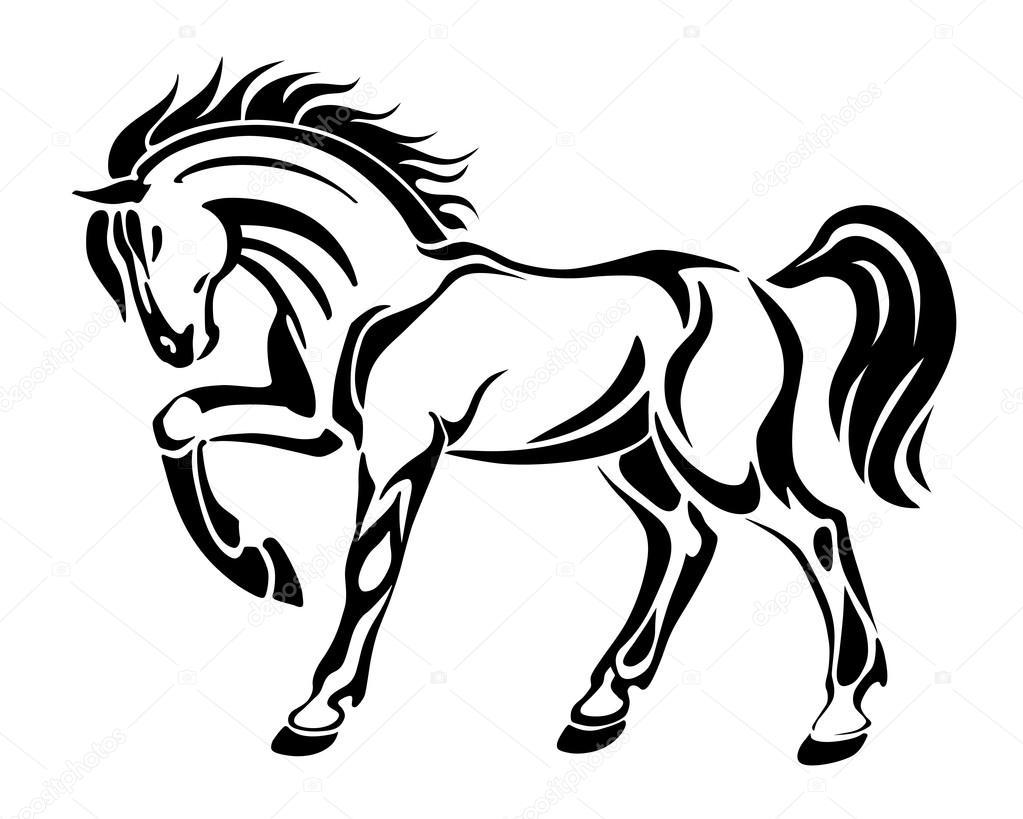 Horse Line Drawing Tattoo : Koń tatuaż streszczenie stylizowane wektor graficzny