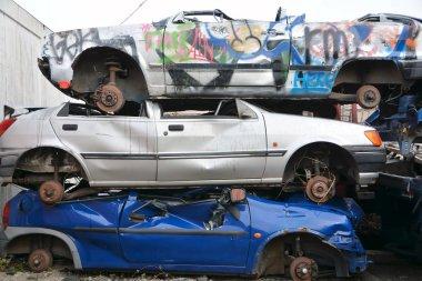 Old cars in a junkyard