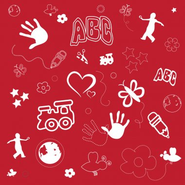 Kids Preschool Red Vector Background