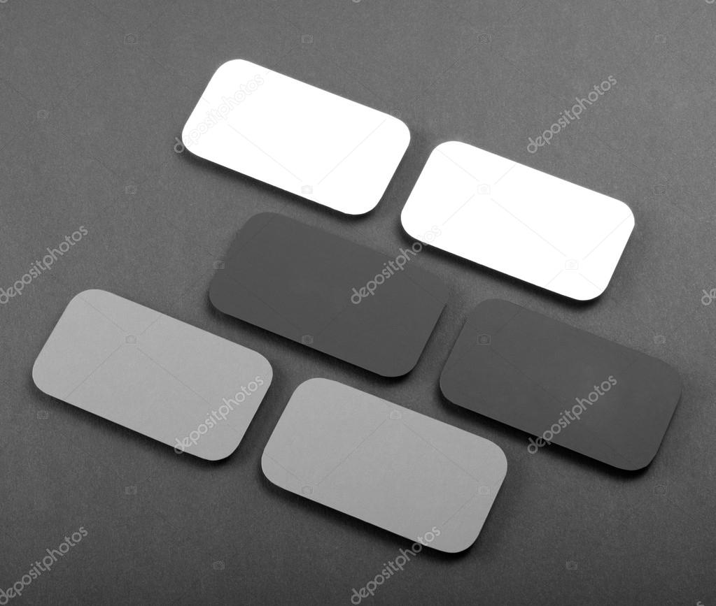 Blank business cards with rounded corners on a gray background blank business cards with rounded corners on a gray background stock photo reheart Gallery