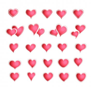 Vector set of red hearts in different shapes and styles.