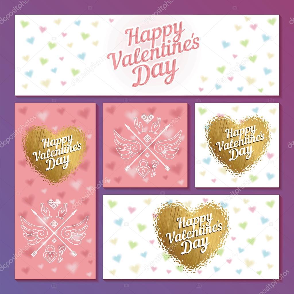 Set Der Valentinstag Karten Mit Herzen Und Pfeile Fur Grusskarte