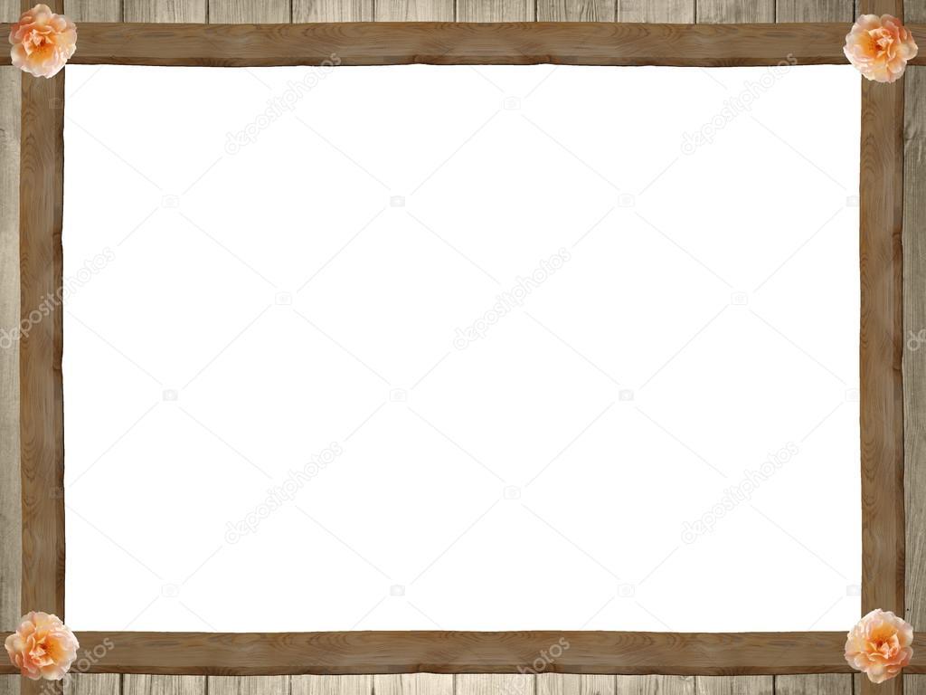 marco de madera rústico con rosas en los bordes — Fotos de Stock ...