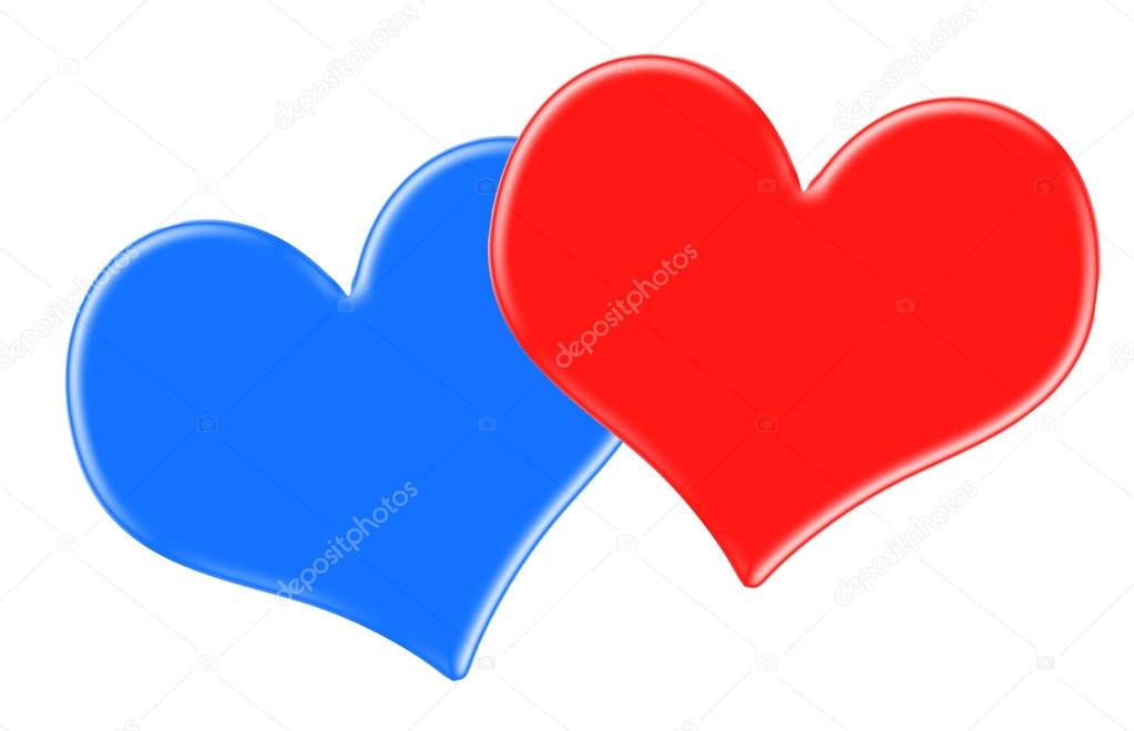 Red And Blue Heart Isolated On White Stock Photo Susazoom 64516823