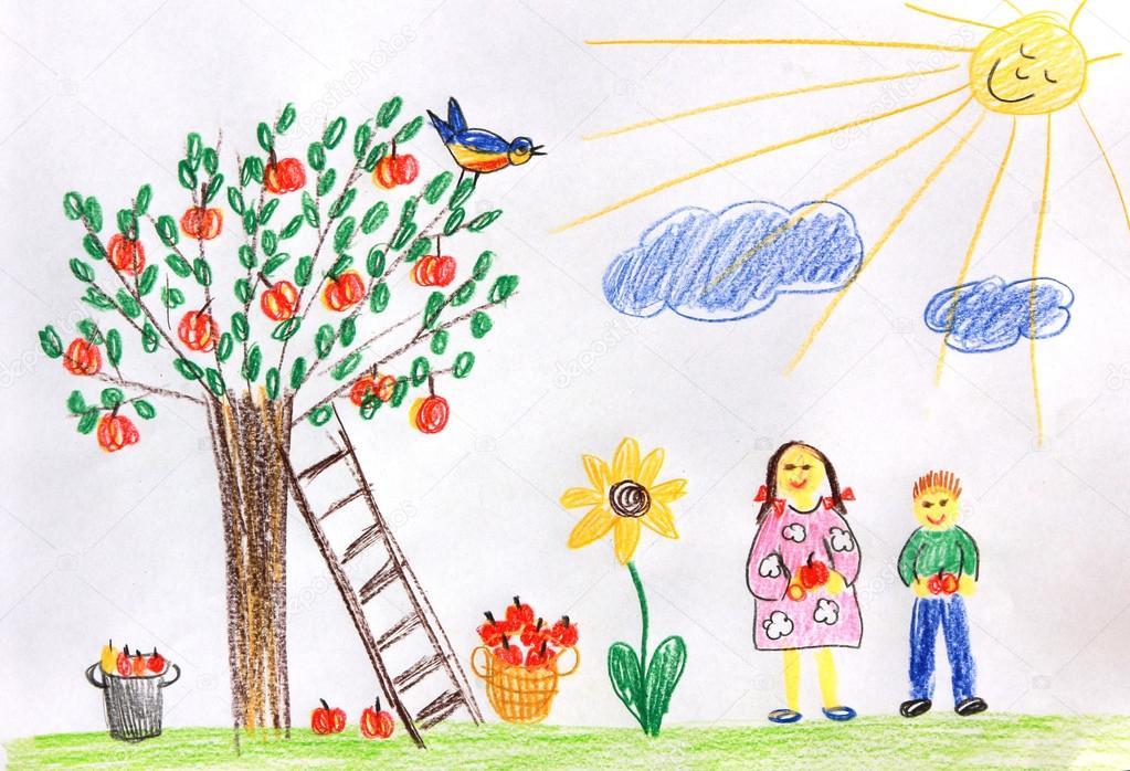 Iictures Garden Drawing For Kids Children In A Autumn Garden