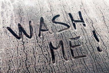 Wash Me Words on a Dirty Car Window