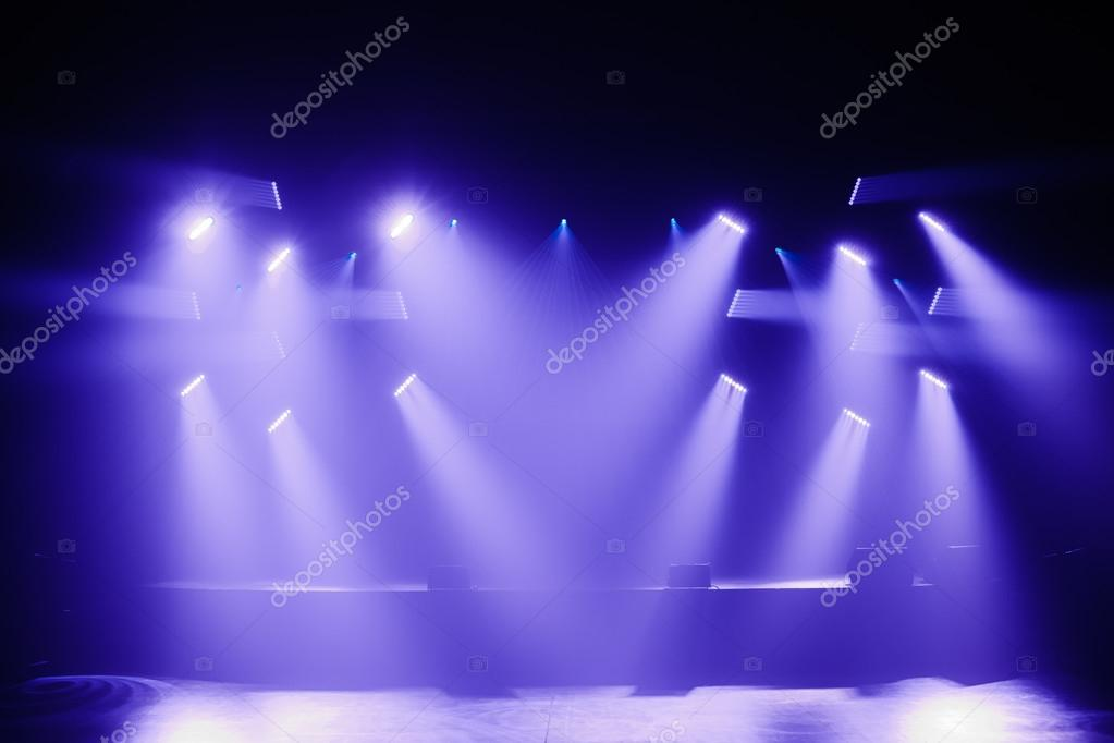 Spot Lights On A Empty Stage Stock Photo