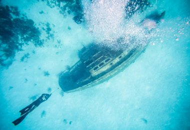 View from surface of a Shipwreck in San Andres, Colombia