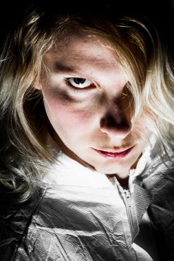Scary Blonde Woman Looking at the Camera