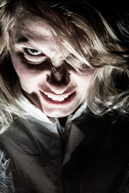 Scary Psycho Blonde Woman Frustrated
