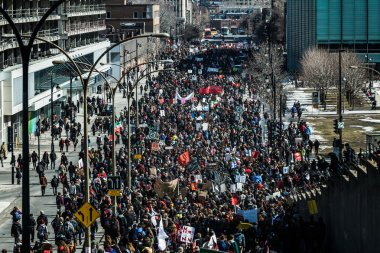 Top View of the Protesters Walking in the Packed Streets
