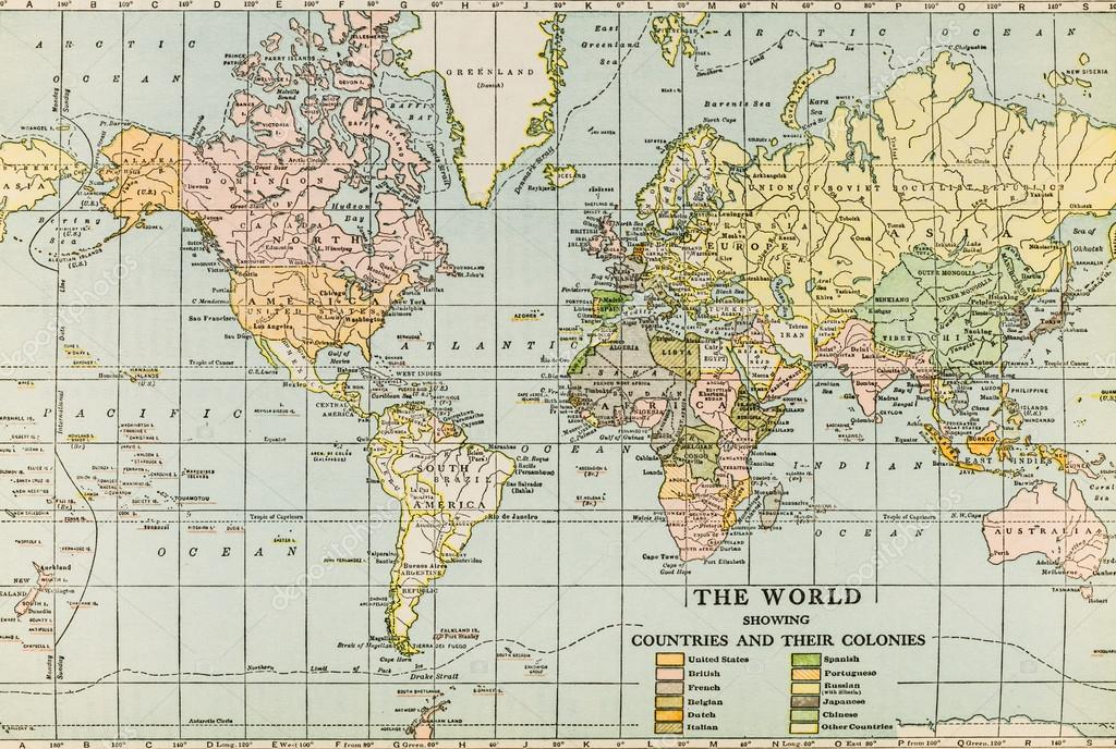World map like it was in the 1940s including urss and other october 7th 2015 montreal canada old and vintage 1945 english webster dictionary world map like it was in the 1940s including urss and other gumiabroncs Choice Image