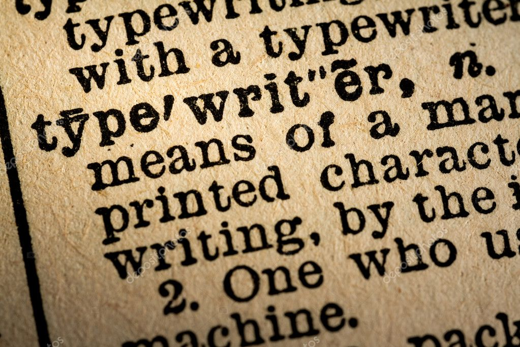 Close-up of the word TYPEWRITER and its definition – Stock