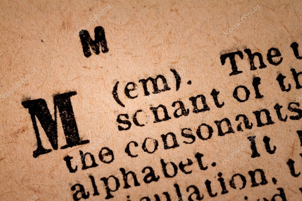 Close-up of a M, the 13th Letter of the Latin Alphabet– stock image