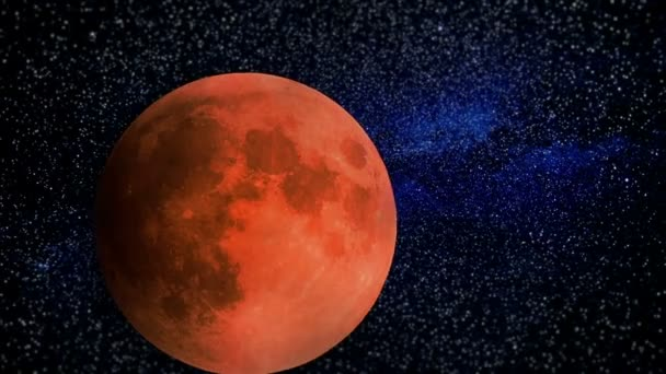 Blood Moon with Stars and Clouds Video Timelapse