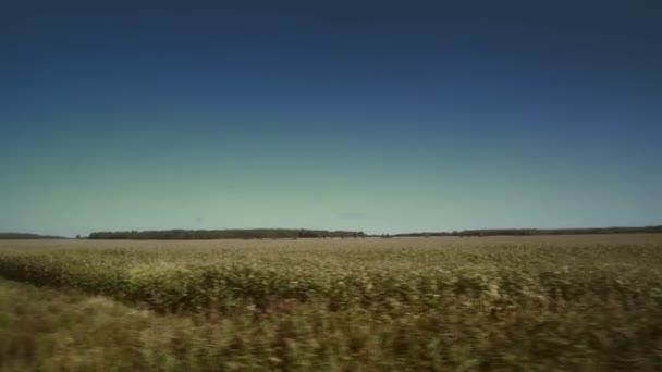 Rozmazaný pole pohled z okna spěšný vlak