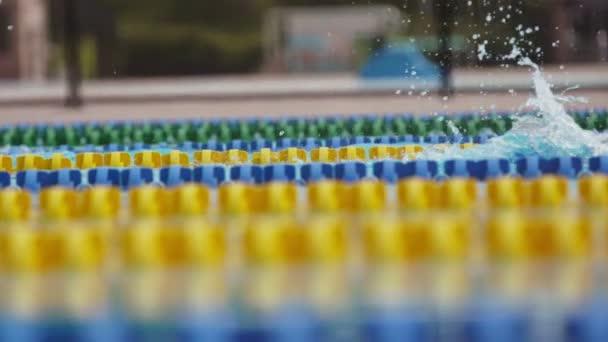 Boční pohled plavců v bazénu v pomalém pohybu