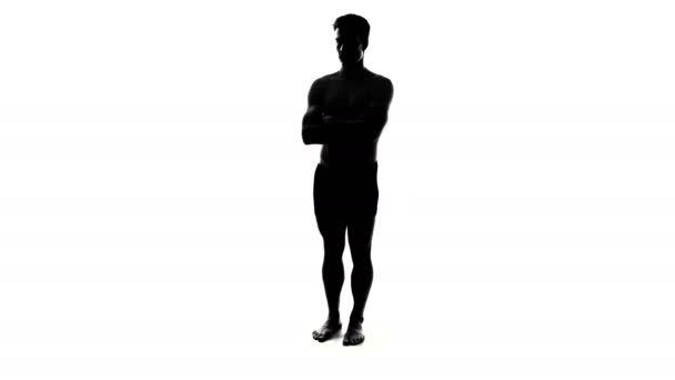 Naked Man Silhouette with Crossed Arms